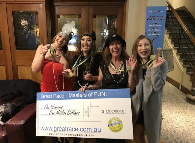 Hens Amazing Race With Bars 40's Costumes Dress Ups Million Dollar Cheque Winners