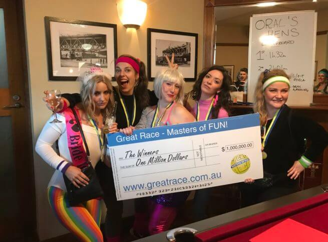 Hens Party Activity Amazing Race with bars dress up lycra fun bride to be winners million dollar cheque great race masters of fun