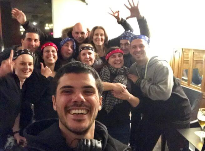 Family Social Amazing Race with Bars Host Photo Bomb
