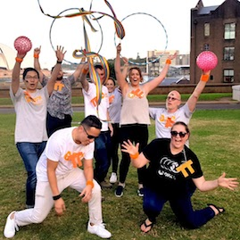The Rocks Team Bonding Game Amazing Race Rhythmic Gymnastics Routine Ribbon Hoops