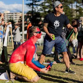 Giant Sling Survivor Challenge Painted Man Beach Survivor Social Activity