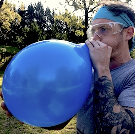 Survivor Outdoor Conference Activity Food Relay Tim Tam Slam Balloon Almost Exploding Goggles Bandana