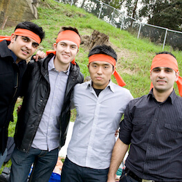 Team Photo Orange headbands Bandanna corporate team building