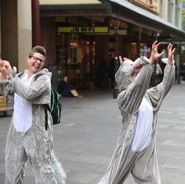 Costume for team building onesies Thriller Challenge Pitt St Mall